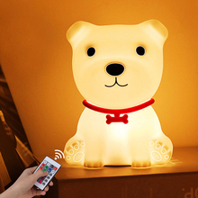 New Kawaii LED Kids Night Lights Touch Sensor Funny Dog Remote Control Room Decor Colorful Table Lamp Bedroom Children Baby Gift