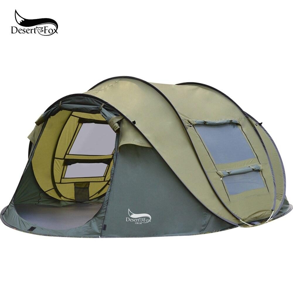 Автоматическая всплывающая палатка для пустыни и лисы, 3 4 человека, открытая мгновенная установка палатки, 4 сезона, водонепроницаемая пала