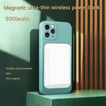 Magnetic Wireless Charging For iphone 12 Pro Max 5000mAh Powerbank for iPhone 12 mini External Battery Ultra-thin Power Bank image