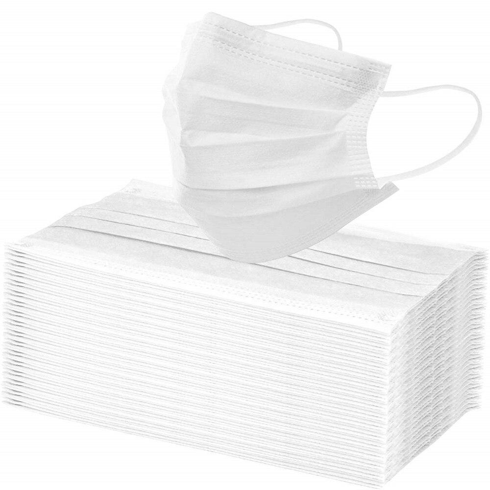 10/50/100pcs White Mask Disposable 3 Floors Filter Unisex Face Mouth Masks Protection Pollen Wholesale Masks Masque