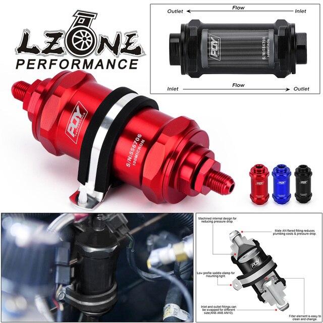 LZONE   PQY AN6 / AN8 / AN10 مضمنة فلتر الوقود E85 الإيثانول مع عنصر الفولاذ المقاوم للصدأ 100 ميكرون وملصق PQY