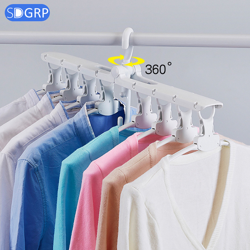 Multifunctional Foldable Clothes Hanger Save Space Laundry Drying Racks Wardrobe Closet Storage Organizer Plastic Clothes Hanger