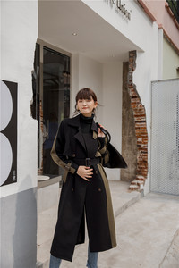 Image 2 - CHEERART Patchwork Winter Trench Coat Slim Double Breasted Black Long Wool Trench Coat For Women Clothes 2019
