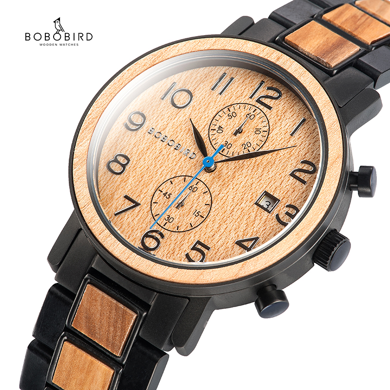 BOBO BIRD Wood Watch Men Relogio Masculino Chronograph Watches Military Luxury Brand Quartz Wristwatch Wooden Band Engrave Name