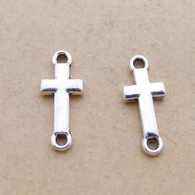 500pcs Crosses Charms 6mm x 15mm DIY Jewelry Making Pendant antique silver color