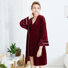Fashion Women Winter Pajamas Set Velvet Robe Gown Autumn Sexy Lace Sling Sleepwear Nightdress Two-piece