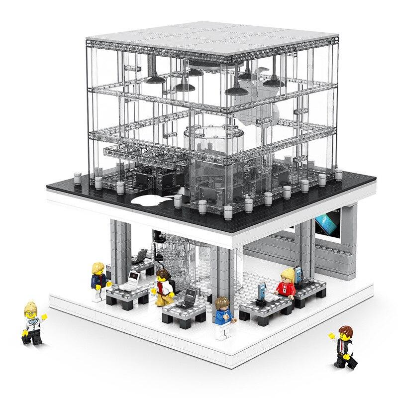 1116pcs Legoeds Technic Street Apple Store with Led Light Legoings City Building Blocks Light Verson Building Blocks Toy Gifts