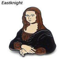 K43 Inspired by Mona Lisa Leonardo da Vinci vintage brooch high quality Metal Enamel pins badge Costume Jewelry