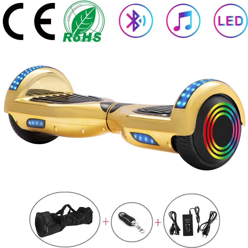 Hoverboard 6.5 Polegada chrome ouro scooter elétrico duas rodas luzes led crianças auto equilíbrio scooter placa de equilíbrio bluetooth + chave saco