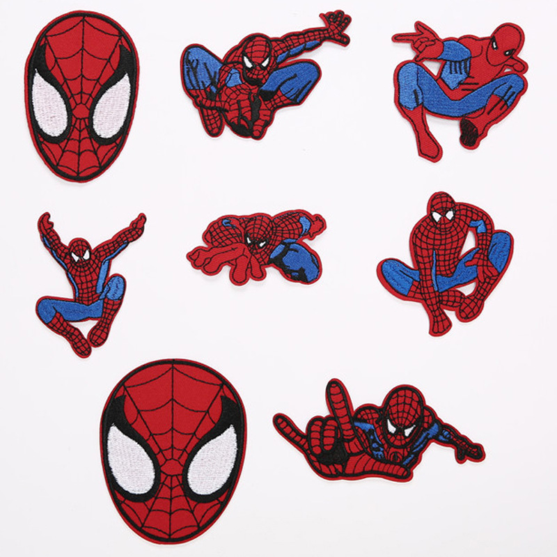 5pcs Hot Movie <font><b>Marvels</b></font> Spiderman Superhero Embroidery <font><b>Patches</b></font> <font><b>for</b></font> <font><b>Clothing</b></font> DIY Stripes Appliques Clothes Stickers Iron on Badges image