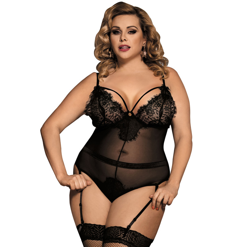 Body Feminino Transparent Lace Bodysuit Hot Plus Size M-5XL Sexy Clubwear Lace Romper Bodysuit Women With Garter RS80266