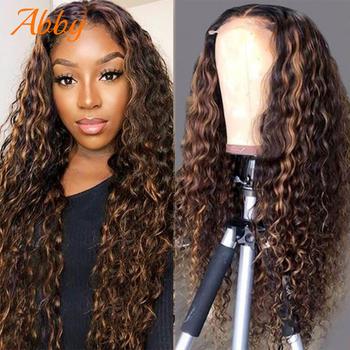 Wyróżnij peruki ludzki włos kręcone koronki przodu peruki z ludzkich włosów dla kobiet brązowy i miód Ombre kolorowe 4 #215 4 zamknięcie koronki peruki na sprzedaż tanie i dobre opinie ABBY long Curly peruki z koronką z przodu Peruka z koronkowym zamknięciem CN (pochodzenie) Włosy remy Ludzkie włosy