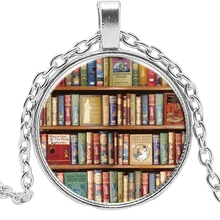 2019 New Fashion Hot Book Literature Glass Cylindrical Necklace Clothing Accessories Pendant Jewelry