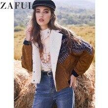 ZAFUL abrigos chaqueta caliente las mujeres Vintage prendas de vestir de otoño e invierno doble Breasted Tribal de borreguito sintético de panel de pana chaqueta