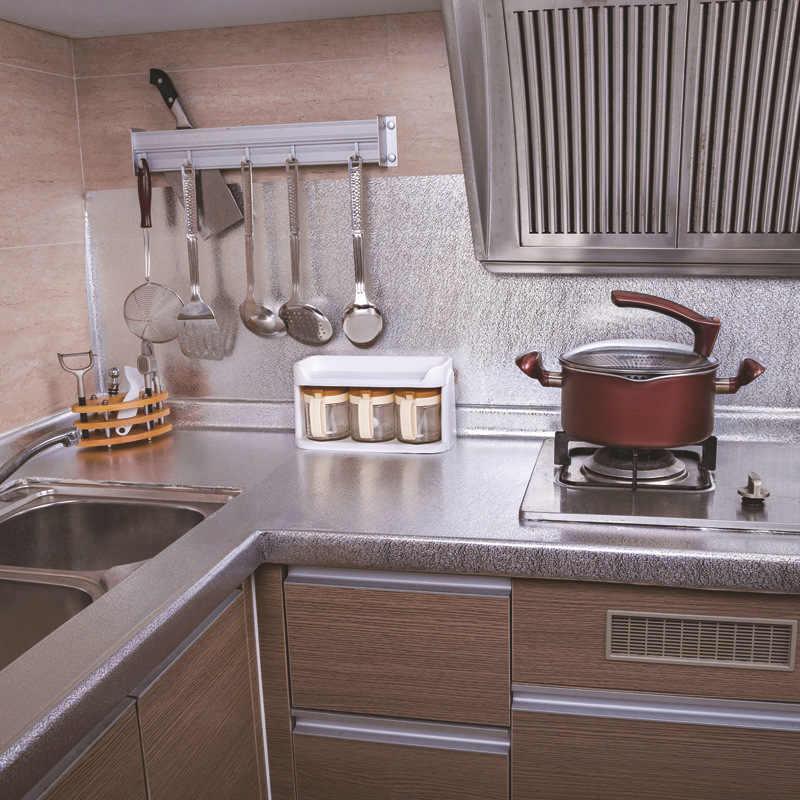 Adesivos à prova d'água para fogão de alumínio, adesivo removível para parede de cozinha e fogão de alumínio
