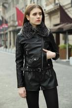 Lanxirui Fashion Fur Collar Basic Jacket Coat Outerwear Coat Black Faux Leather Coat Pu Leather Jacket Women faux fur collar zip up pu leather padded coat