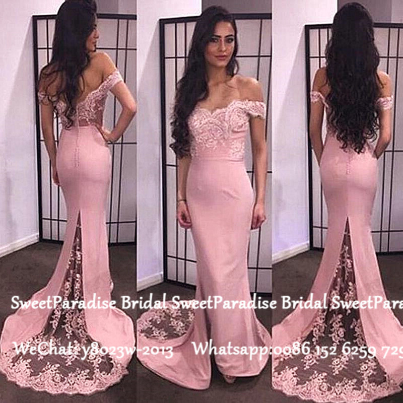 Pink Sheer Lace Mermaid Bridesmaid Dresses 2020 Off Shoulder Appliques Vestido Madrinha Long Wedding Guest Dress For Women