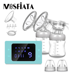 MOSFiATA Rechargeable Electric Breast Pump Nursing Breastfeeding Pump with Milk Bottle LCD Smart Touch Screen Baby Accessories