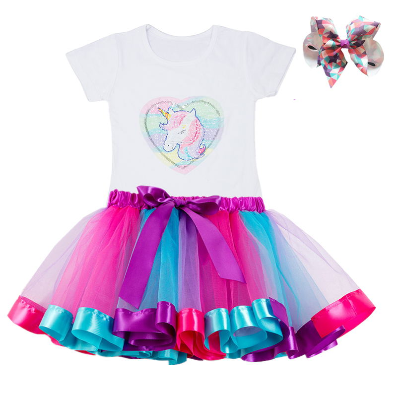 Gilrs Unicorn Princess Dress Children's Birthday Party Dresses Outfits For 2 to 6 Years Kids Girl Clothes Baby Girl Clothing 5