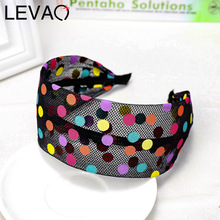 LEVAO Candy Color Polka Dot Headband Wide Size Bezel Bunny Ears Knotted Turban Women Hairbands Girls Hair Accessories Hair Hoop