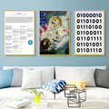 Doge US астронавт догкоин криптовалюты Биткоин винтажная декоративная фотография на холсте Настенная Наклейка домашний Декор подарок