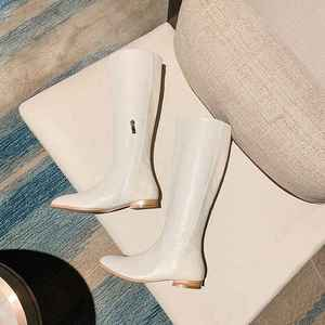 Image 3 - Krazing pote microfibra dedo apontado saltos baixos mulheres na altura do joelho botas de cano alto com zíper elegante escritório da senhora da forma manter inverno quente sapatos L90