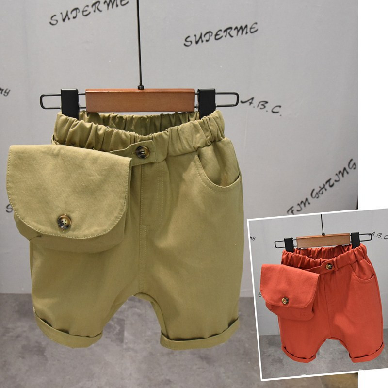 Toddler Boys Shorts Casual Solid Color Belt Bag Pants For Boy 2 3 4 <font><b>5</b></font> <font><b>6</b></font> Years Baby Kids Shorts 2020 Summer Baby Children Shorts image