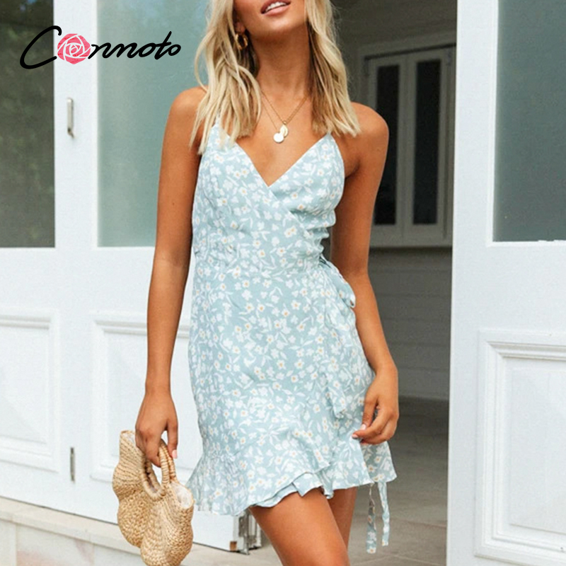 Conmoto Boho Beach Summer Casual Wrap Dresses Women Floral Sexy Ruffles Plus Size Dress Backless Spaghetti Strap Dress Vestidos