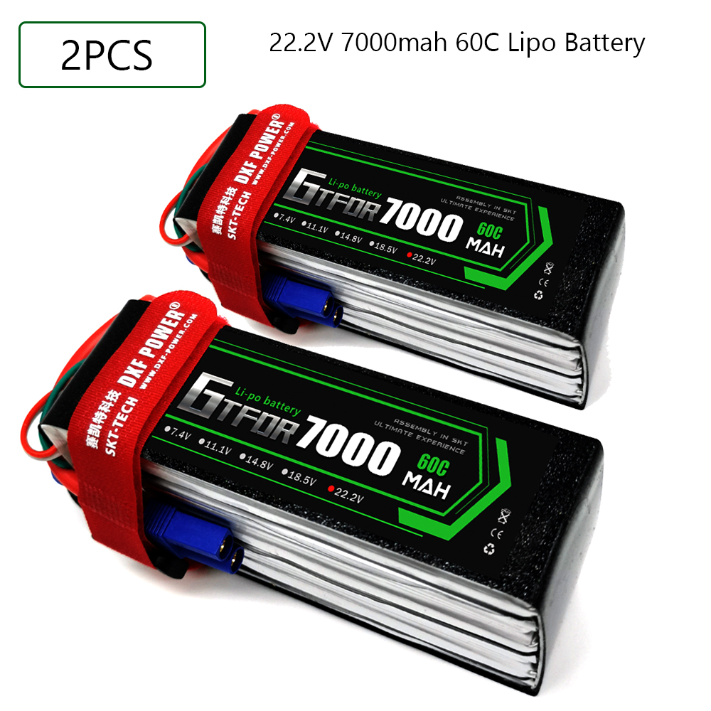 2pcs GTFDR 2S 3S <font><b>4S</b></font> 6S <font><b>Lipo</b></font> RC Battery 7.4V 11.1V 14.8V 22.2V <font><b>7000mah</b></font> 60C-120C for RC 1:10 1:12 Cars trucks Airplane Drones image