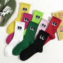 New Women Fashion stitch Cotton Socks Eyes Embroidery Novelty Pattern Creative Lovers Sox Harajuku Funny Design