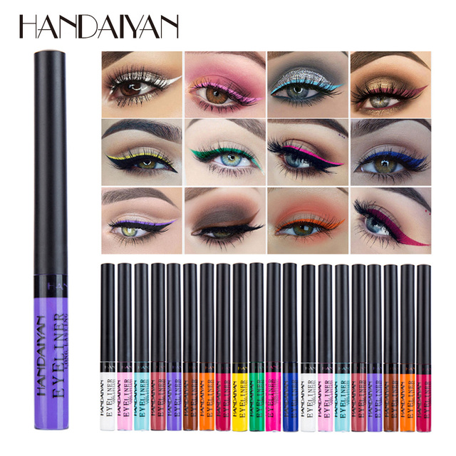 HANDAIYAN Colorful Eyeliner Pencil Eyes Cosmetics Brown Liquid Eye Liner Pen Makeup Color Eyeliners Waterproof Felt-tip Eyliner 1