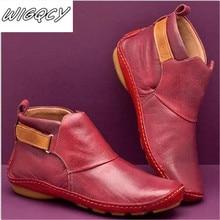 Женские зимние ботинки; ботильоны из натуральной кожи; сезон весна; мягкая обувь на плоской подошве; женские короткие коричневые ботинки; коллекция года; женские ботинки без шнуровки