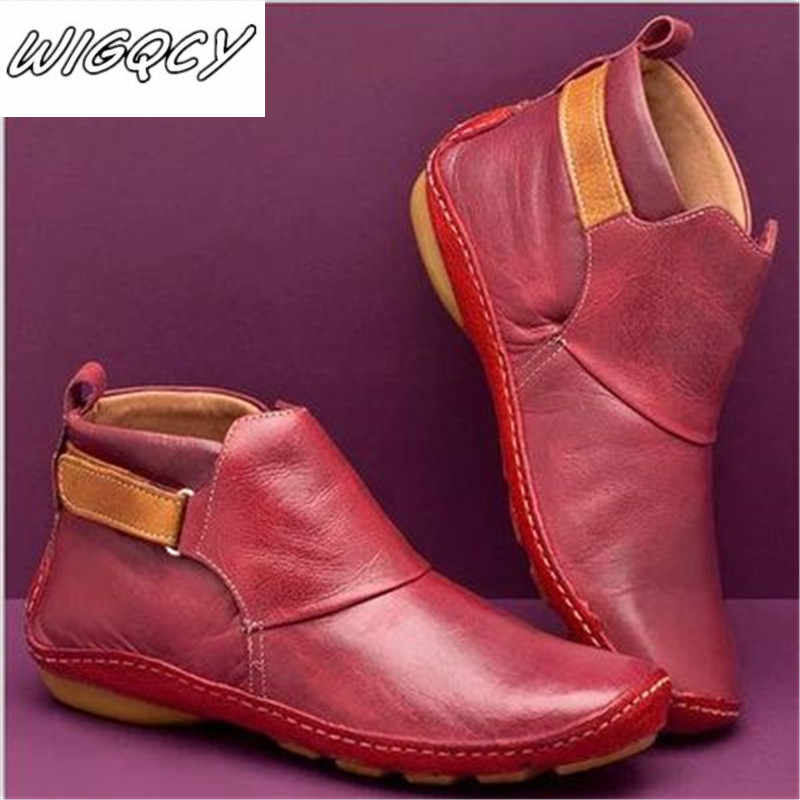 Women Winter Snow Boots Genuine Leather Ankle Spring Soft Flat Shoes Woman Short Brown Boots 2019 For Women Slip-on Boots