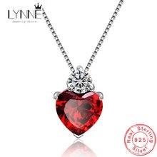 Женский кулон в форме сердца красный из стерлингового серебра