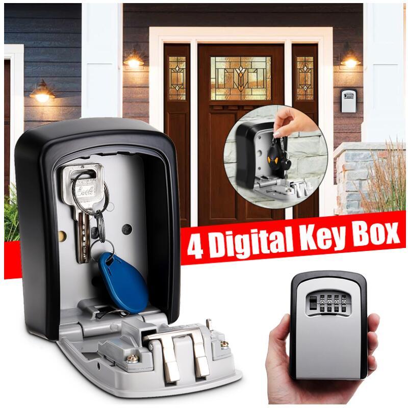 Key Lock Box Wall Mounted Aluminum Alloy Key Safe Box Weatherproof 4 Digit Combination Key Storage Lock Box Indoor Outdood