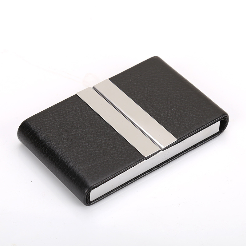 Business Card Holder Men's Business Large-Volume Business Card Holder Creative Customizable Lettering Metal Cardcase Double Open
