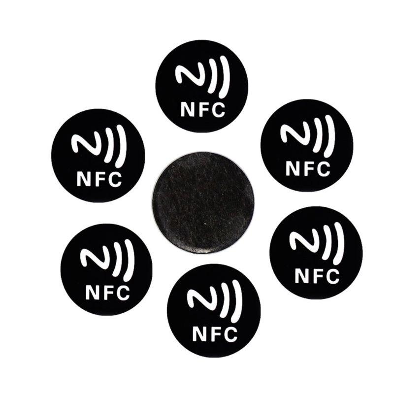 6 pçs preto universal anti metal adesivo nfc ntag213 tags ntag 213 emblemas de etiqueta metálica token para telefones celulares inteligentes| |   -