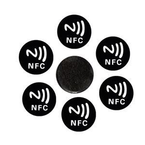6PCS Black Universal Anti Metal Sticker NFC Ntag213 Tags NTAG 213 Metallic Label Badges Token for Smart Mobile Phones