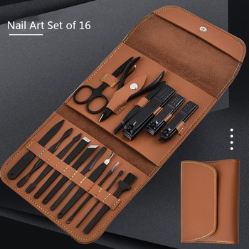 16pcs/set Nail cutter Set Nail Clipper Set Folding Bag Stainless Steel Cutter Tool Finger Nail Clipper Kit Scissors Nail Trimmer 16pcs set nail clipper cutter file manicure pedicure tool with faux leather case