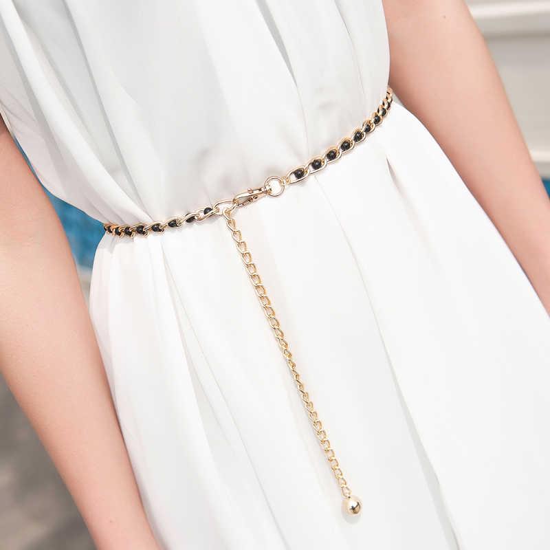 AS/_ Fashion Women Elastic Faux Pearl Thin Skinny Waistband Waist Belt Decor