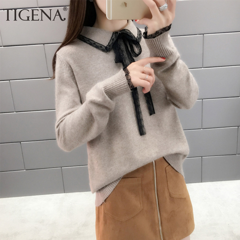 TIGENA Elegant Lace Turn-down Collor Sweater Women Jumper 2019 Autumn Winter Long Sleeve Knitted Pullover Sweater Female Khaki