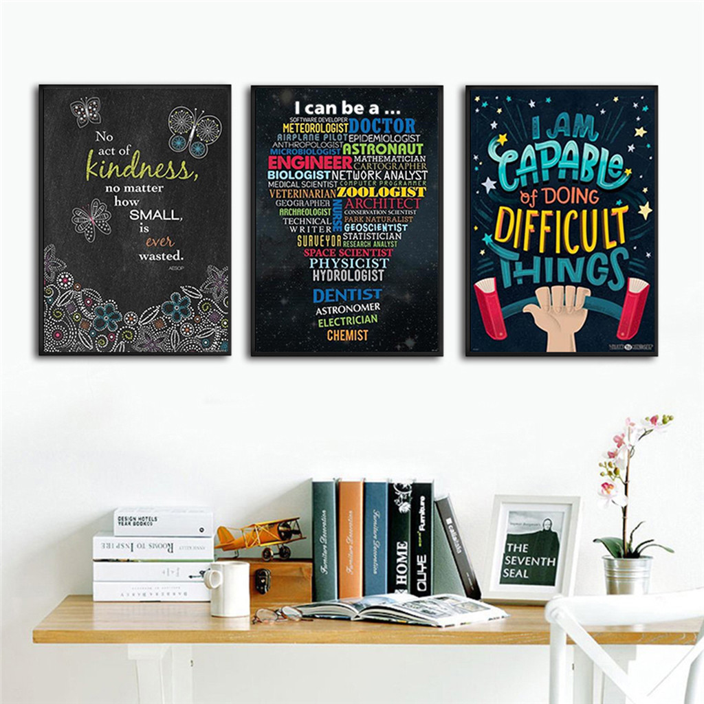 English Inspirational Quotes Painting Motivational Poster For Teachers Classroom Office Wall Hanging Decoration 8x12Inch