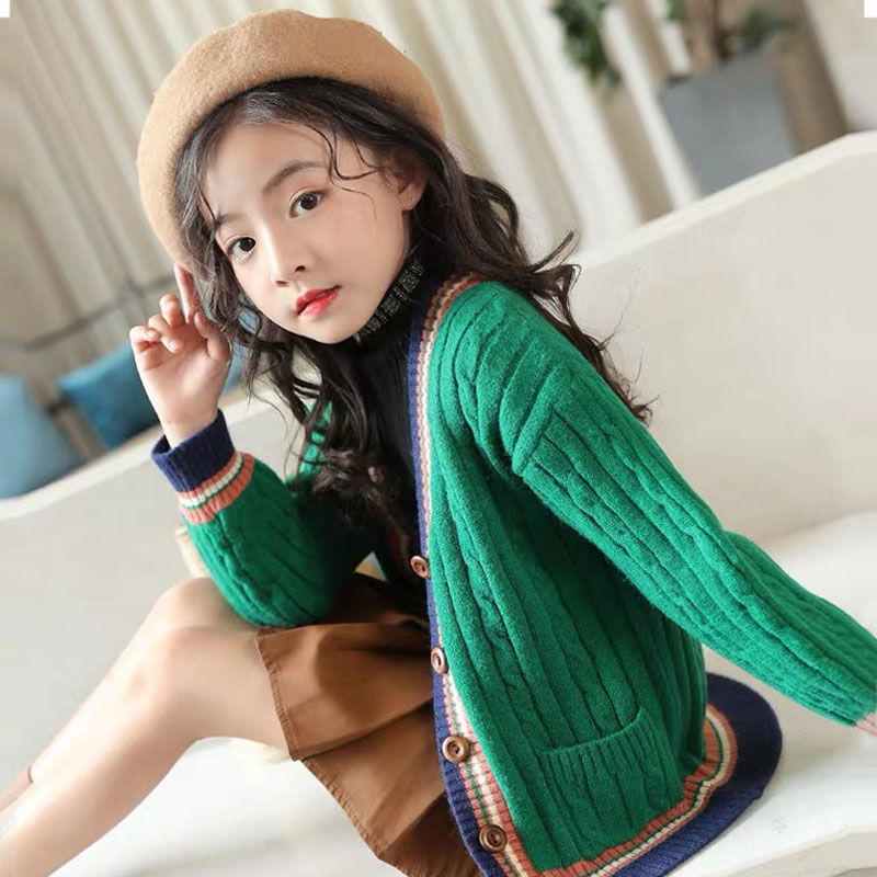 Kids Girls Cardigan Spring Autumn 2020 Knitted Sweaters Button Pure Color Knit Clothes for Teen School Girls Children ClothingSweaters   -