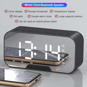 Speaker Mirror-Clock Table-Desk Usb-Charger Snooze-Display Time Bluetooth Digital Night