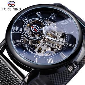 Image 1 - Forsining Retro Fashion Design Skeleton Sport Mechanical Watch Luminous Hands Transparent Mesh Bracelet For Men Top Brand Luxury