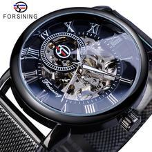 Forsining retro design de moda esqueleto esporte relógio mecânico luminoso mãos transparente malha pulseira para homens marca superior luxo