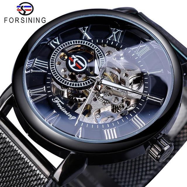 Forsining ريترو موضة تصميم الهيكل العظمي الرياضة ساعة ميكانيكية مضيئة الأيدي شاش شفاف سوار للرجال العلامة التجارية الفاخرة
