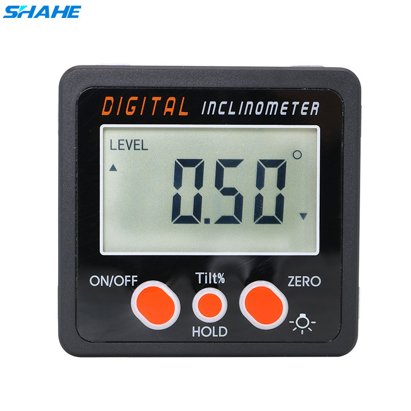 SHAHE Aluminum Alloy Digital Protractor Inclinometer Level Box Digital Angle Finder Bevel Box With Bottom Built-in Magnet