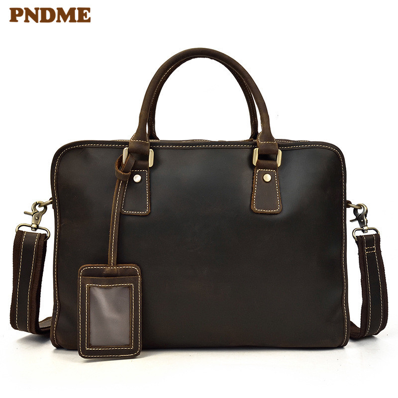 PNDME Business Simple Genuine Leather Men Briefcase Casual High Quality Cowhide Luxury Work Handbag 15 Inch Laptop Shoulder Bag