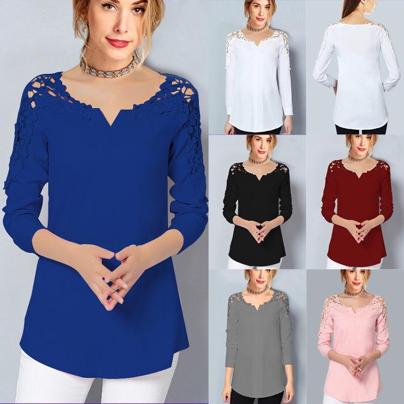 2020 autumn fashion women shirts streewear chiffon blouse  long sleeve shirt women hollow out V-neck big size s-5xl korean